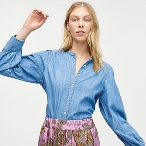 J.CREW Point Sur Small Puff-sleeve Chambray Shirt